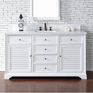 Belfield 60 Single Cottage White Stone Top Bathroom Vanity Set by Darby Home Co
