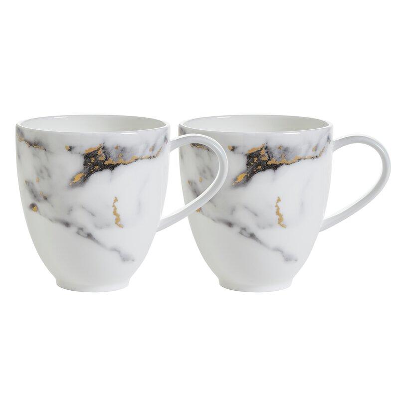 Prouna Marble Venice Fog Bone Chinabarrel Coffee Mug Set Of 2 Perigold