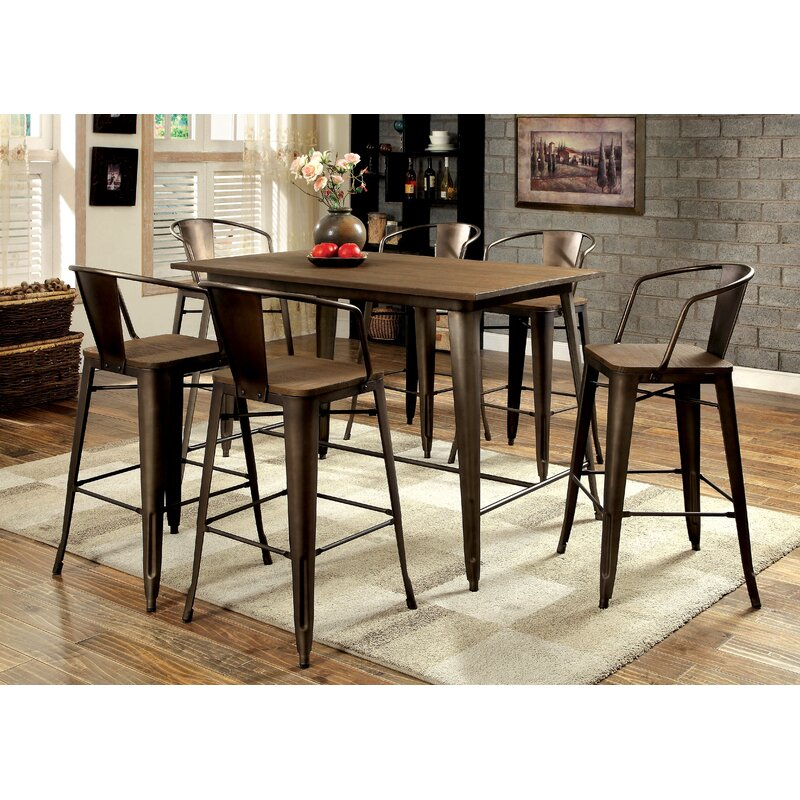 sets foundry farmhouse height laurel modern high rustic table extendable fortunat excellent room dining tables creek pc hill counter black