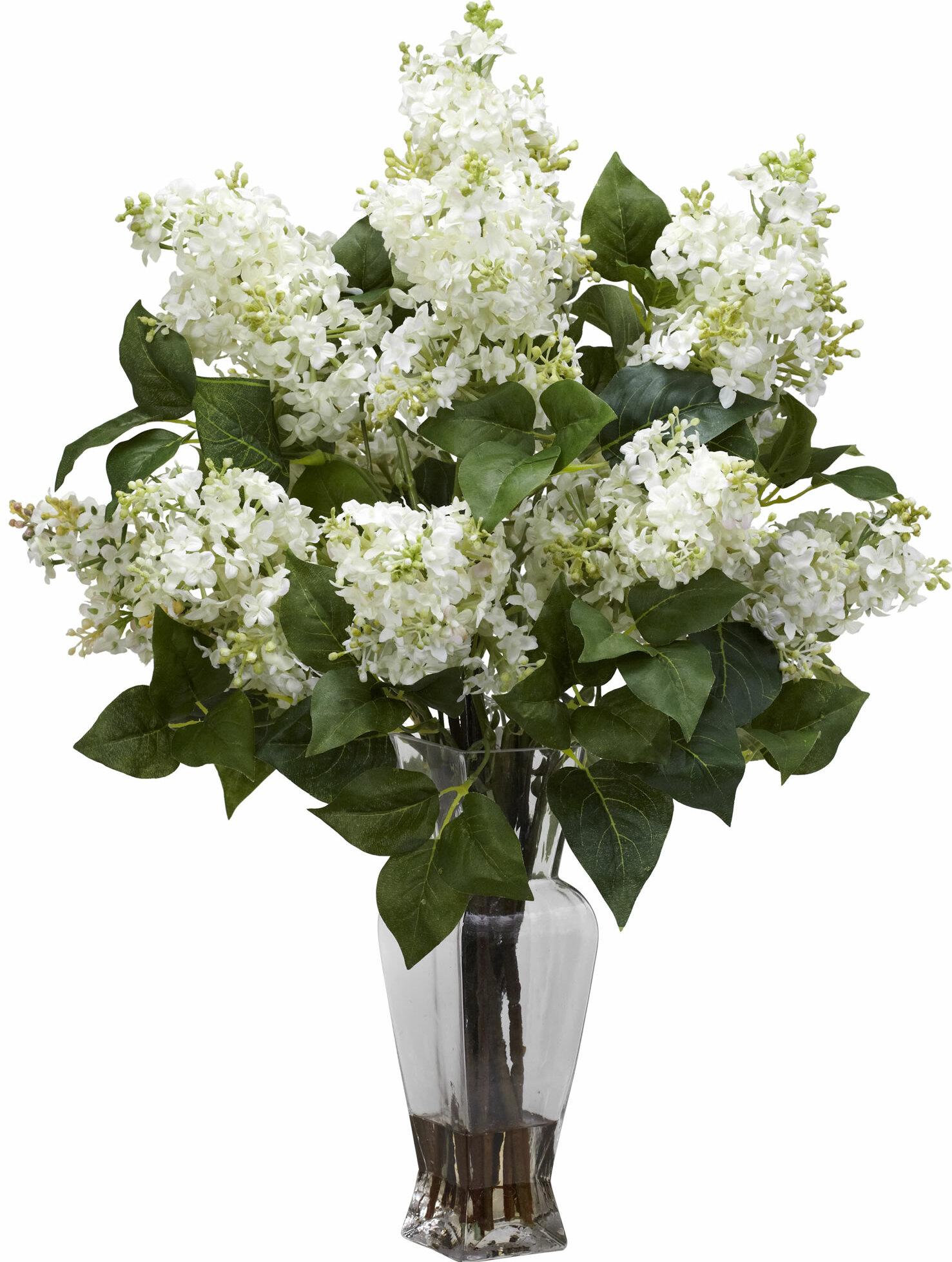 Lilac Silk Flower Arrangement With Decorative Vase