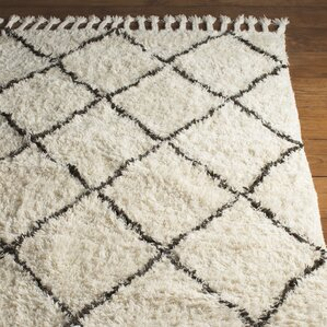 Great Twinar Hand Knotted White/Dark Grey Area Rug