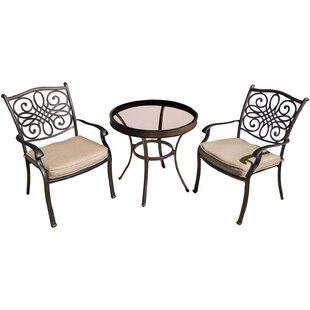 Carleton 3 Piece Aluminum Bistro Set with Cushions