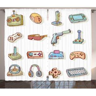 Dahms Video Games Retro Art Digital Fun Sketch Kids 90s Computer Console Headphones Nerd Gun Joystick Graphic Print Text Semi Sheer Rod Pocket Curtain
