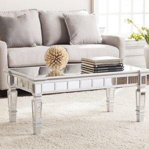 Jerlene Glam Mirrored Rectangular Coffee Table by Willa Arlo Interiors