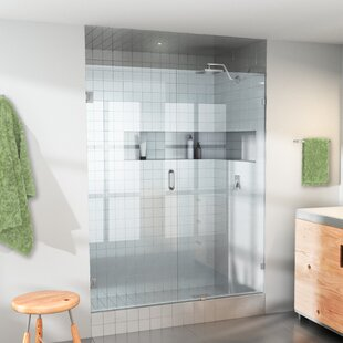 Compare prices 45.5 x 78 Hinged Frameless Shower Door ByGlass Warehouse