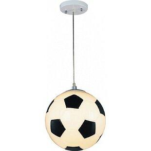 Zoomie Kids Kinde Childrens Soccer Ball 1-Light Globe Pendant
