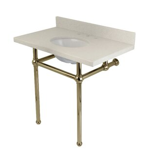 Kingston Brass Templeton White Quartz Rectangular Undermount Bathroom Sink with Overflow