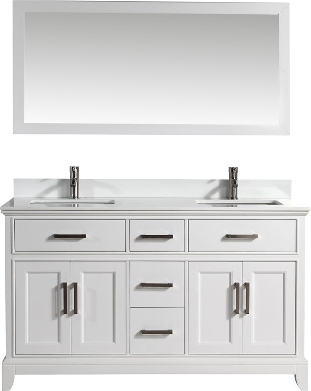"60 Bathroom Vanity Vanity Art 60"" Double Bathroom Vanity Set With Mirror & Reviews"