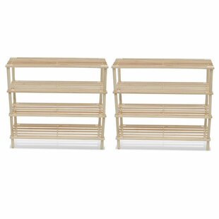 Wooden 4-Tier 24 Pair Shoe Rack (Set Of 2) By Beachcrest Home