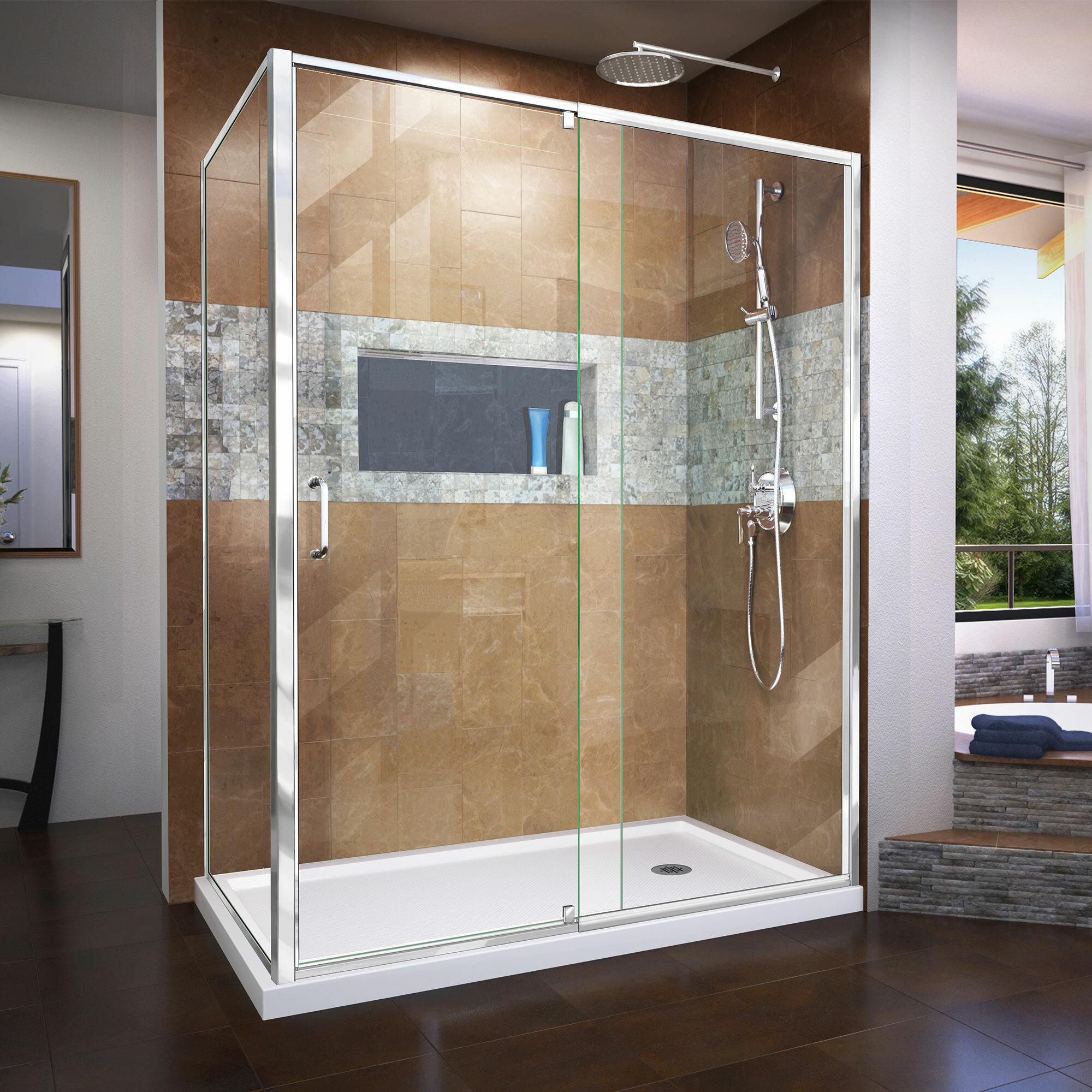Dreamline Flex 34 5 X 72 Rectangle Pivot Shower Enclosure Wayfair