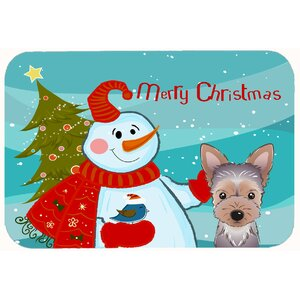 Snowman with Yorkie Puppy Kitchen/Bath Mat