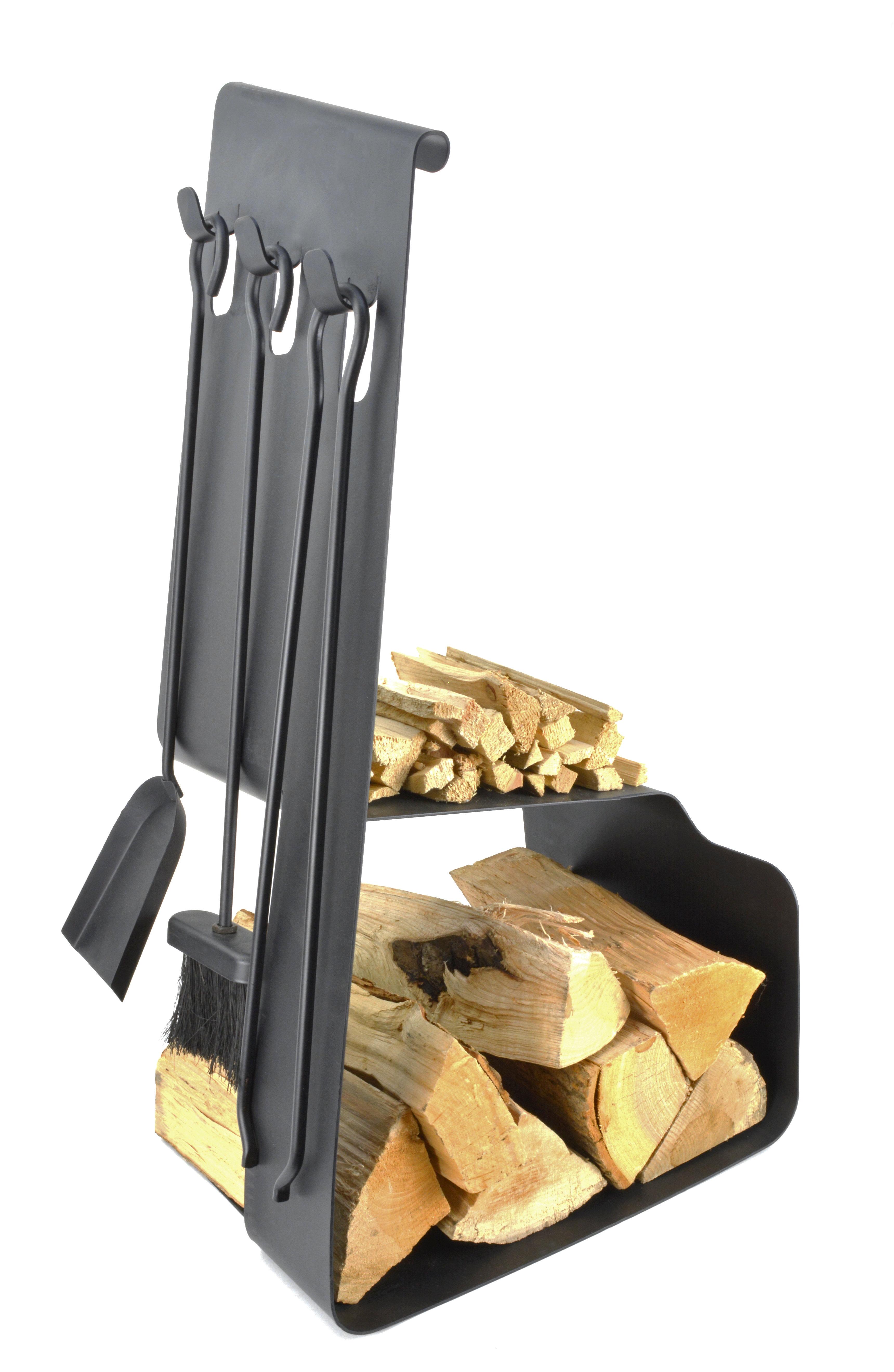 Clearambient Holzkorb Viking Mit Kaminbesteck Aus Stahl Wayfair De