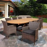 Alrun International Home Outdoor 11 Piece Teak Dining Set with Cushions