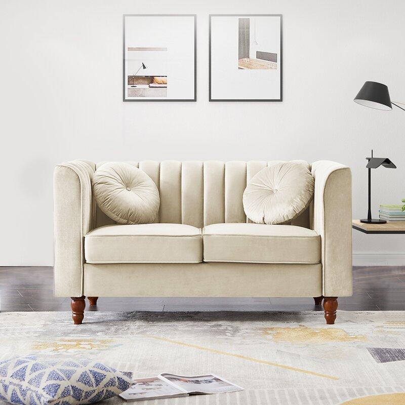 Uixe Velvet Chesterfield 66 5 Rolled Arm Loveseat Wayfair