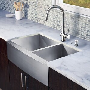 VIGO 33 inch Farmhouse Apron 60/40 Double Bowl 16 Gauge Stainless Steel Kitchen Sink with Gramercy Stainless Steel Faucet,...