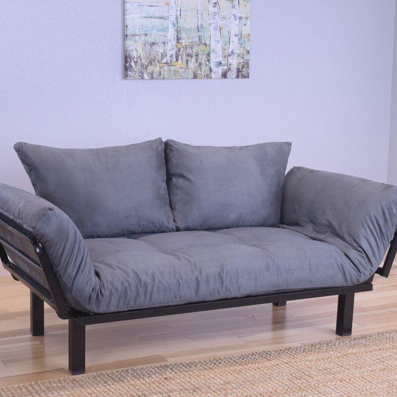 everett black convertible lounger futon and mattress