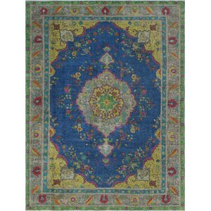 Brittain Vintage Distressed Overdyed Hand Knotted Wool Blue Area Rug