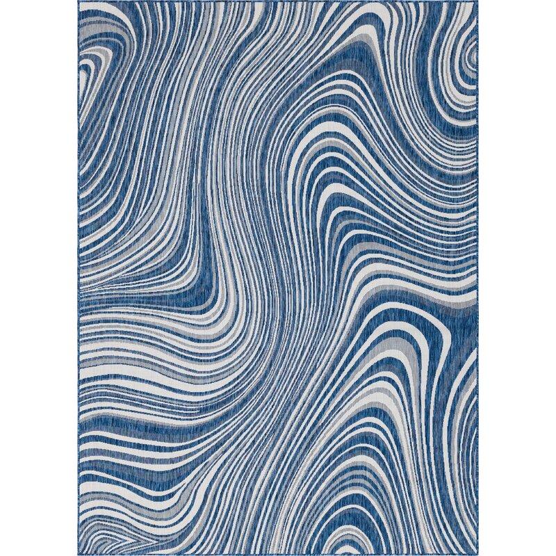 Orren Ellis Gabija Abstract Navy Blue Indoor Outdoor Area Rug Reviews Wayfair