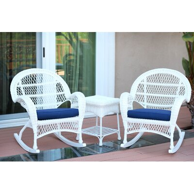 3-Piece Lalani Patio Seating Group Fabric: Blue, Frame Color: White by August Grove