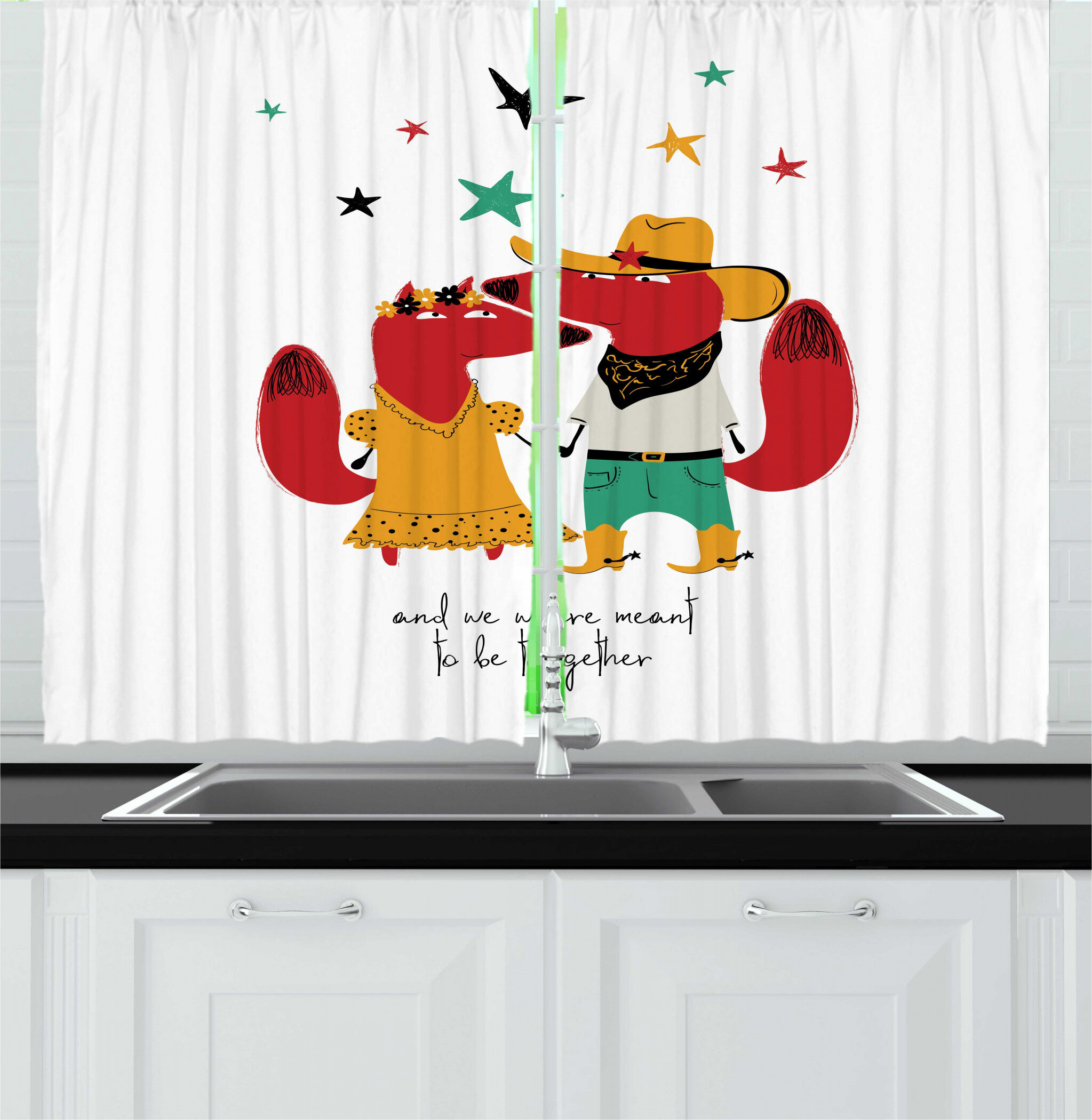 East Urban Home 2 Piece Fox Love Themed Romantic Cowboy Animal Couple And We Were Meant To Be Together Words Kitchen Curtain Set Wayfair