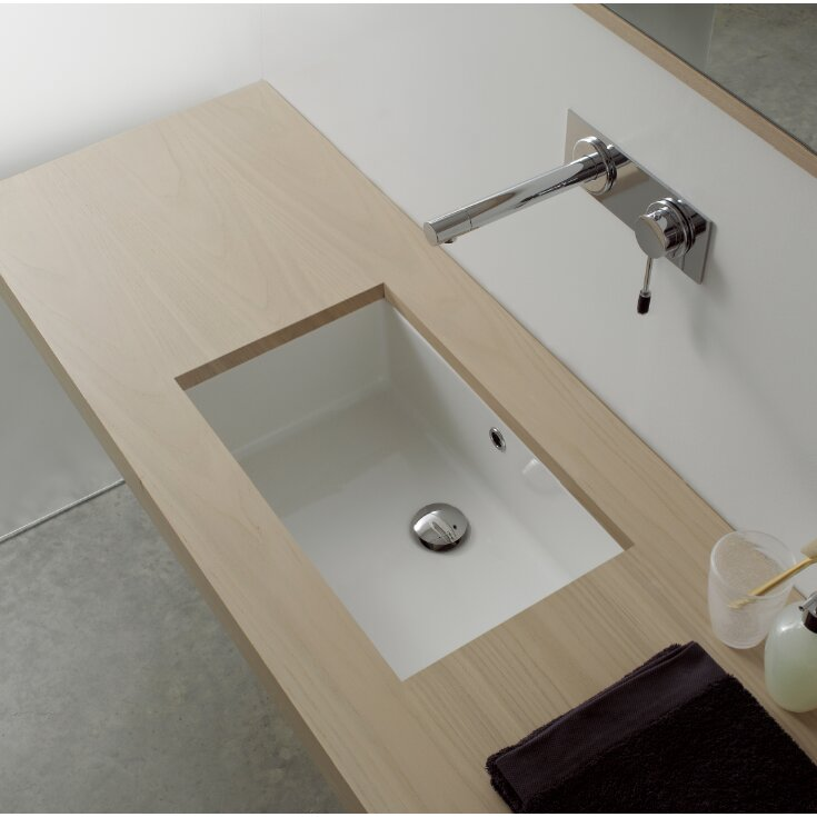Miky Ceramic Rectangular Undermount Bathroom Sink with Overflow. Scarabeo by Nameeks Miky Ceramic Rectangular Undermount Bathroom