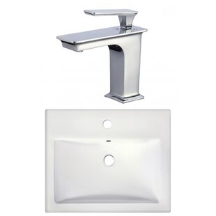 Order Ceramic Rectangular Drop-In Bathroom Sink with Faucet ByAmerican Imaginations