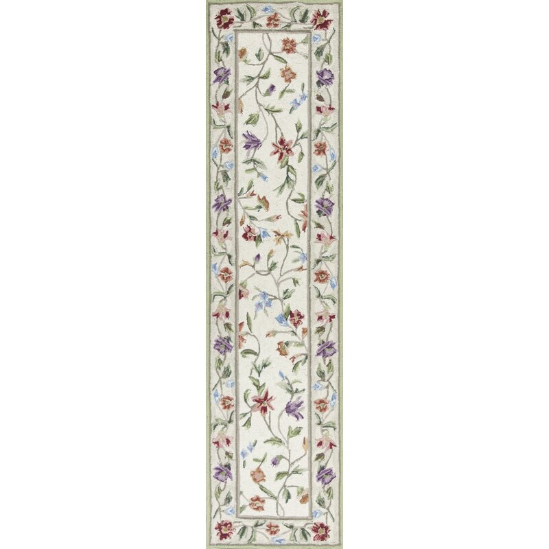 August Grove Labrosse Looped/Hooked Wool Ivory/ White Area Rug, Size: Rectangle 8 x 106