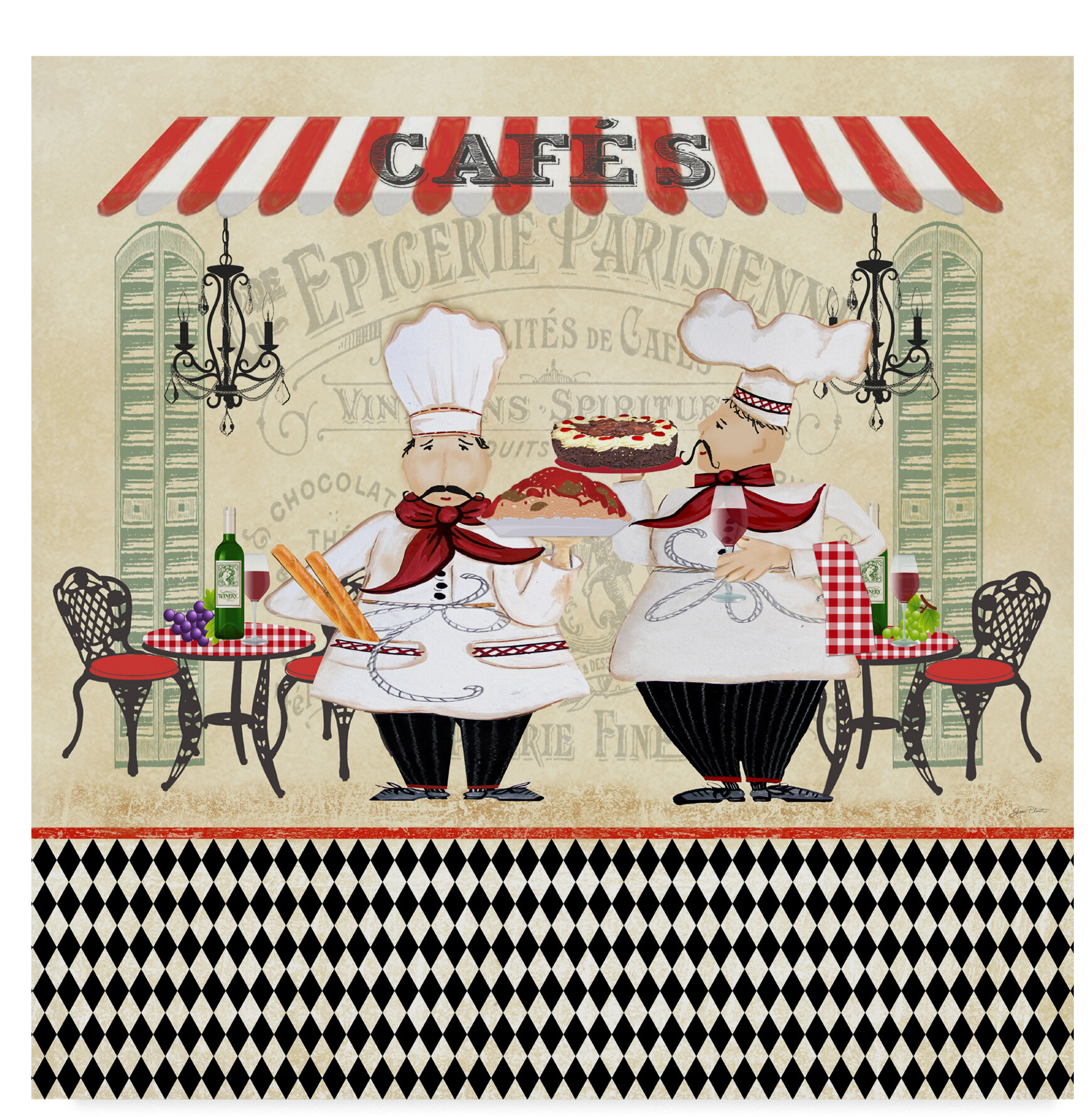 Trademark Art French Cafe Chefs 1 Graphic Art Print On Wrapped Canvas Wayfair