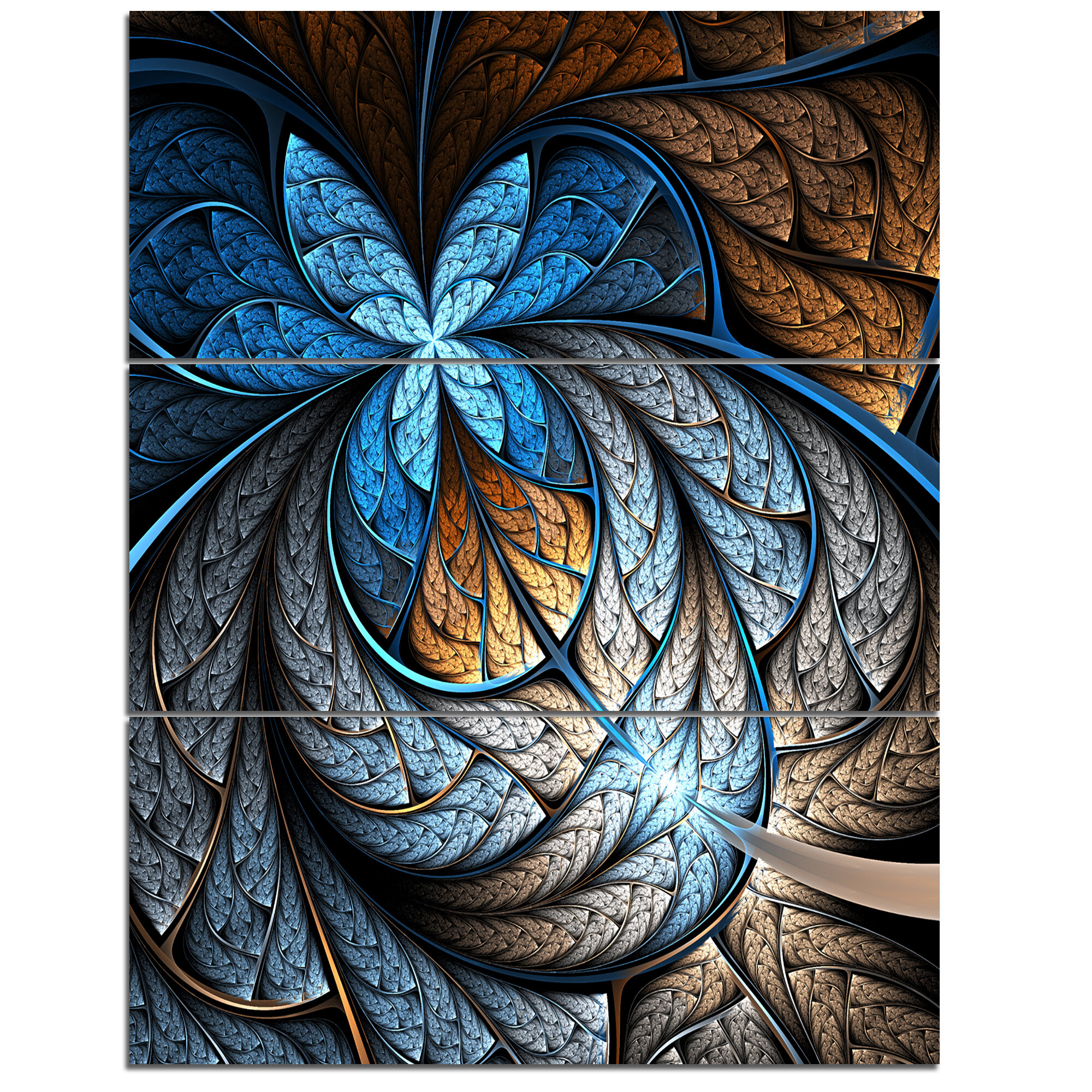 Designart Blue Brown Fractal Flower Pattern 3 Piece Graphic Art On Wrapped Canvas Set Wayfair