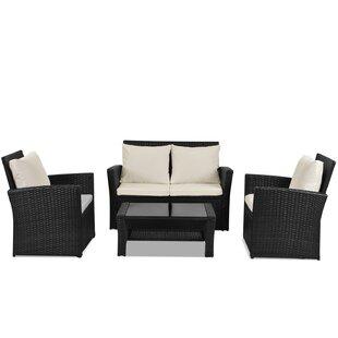 Cajuste 4 Seater Rattan Sofa Set By Sol 72 Outdoor