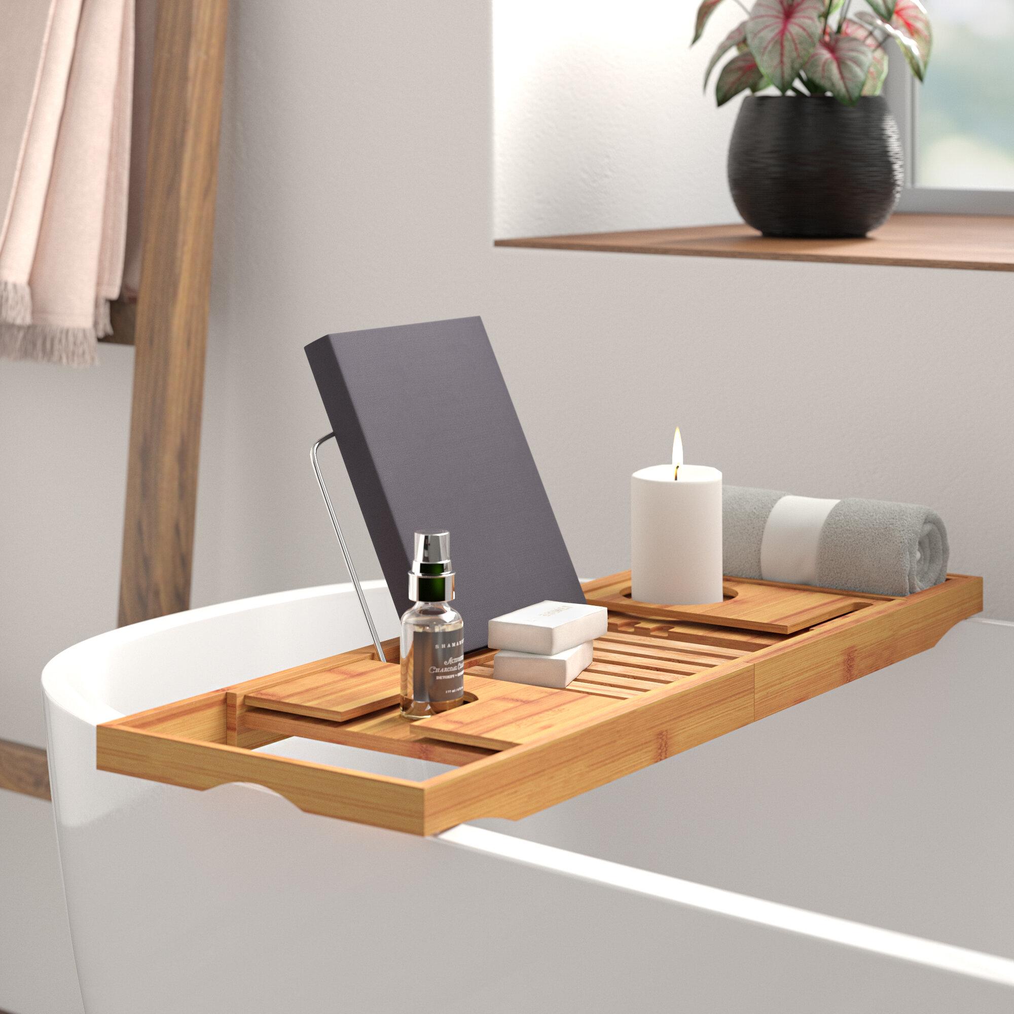 Ebern Designs Bellinger Bamboo Bathtub Caddy Tray Reviews Wayfair