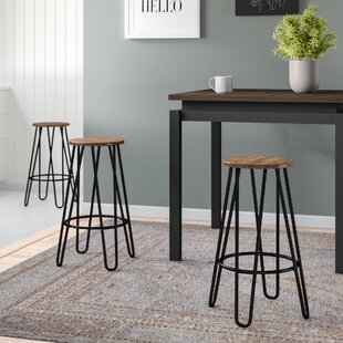 Avery 63.5cm Bar Stool In Walnut/Black (Set Of 2) By Zipcode Design