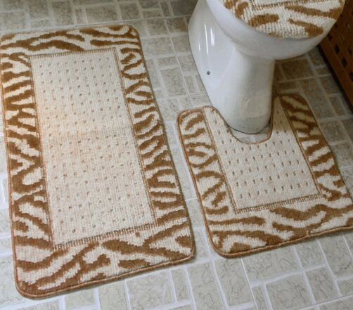 Ollie 3 Piece Animal Print Bath Rug Set