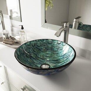 VIGO Glass Circular Vessel Bathroom Sink
