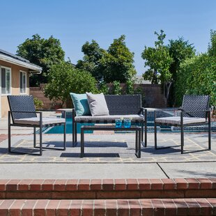 O'Kean Outdoor Conversation 4 Piece Rattan Sofa Seating Group with Cushion