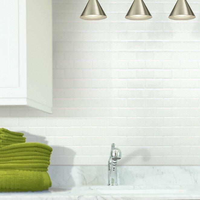 "Subway Tiles smart tiles mosaik 10.95"" x 9.7"" peel & stick subway tile in white"