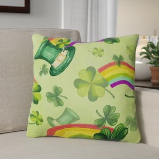 Watercolor St Patrick's Day Lucky Leprechan Outdoor Throw Pillow