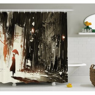 Umbrella in Rain Old Town Ruins Apocalypse Superhero Print Shower Curtain Set