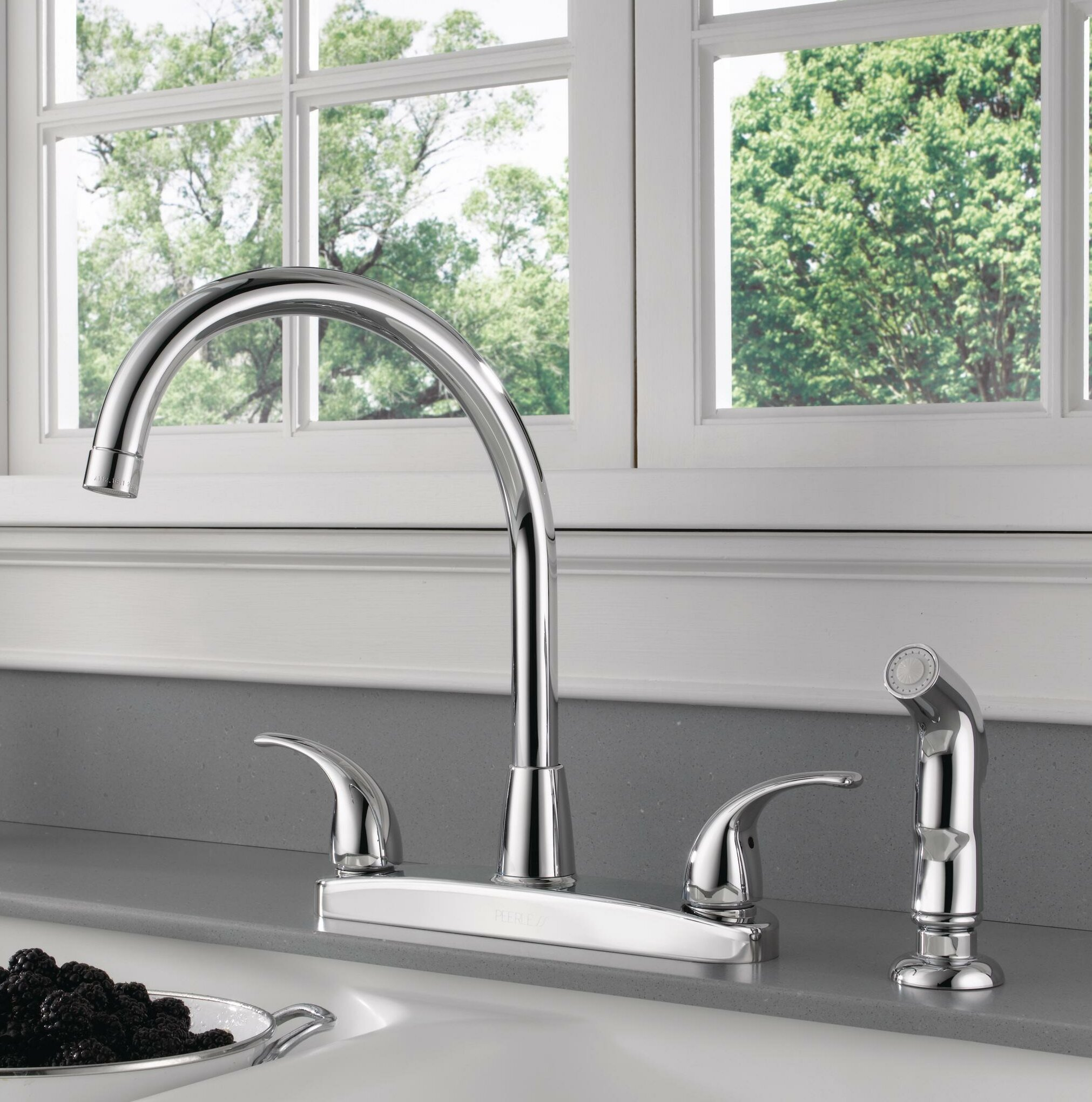 Peerless Faucets Double Handle Kitchen Faucet With Side Spray Reviews Wayfair