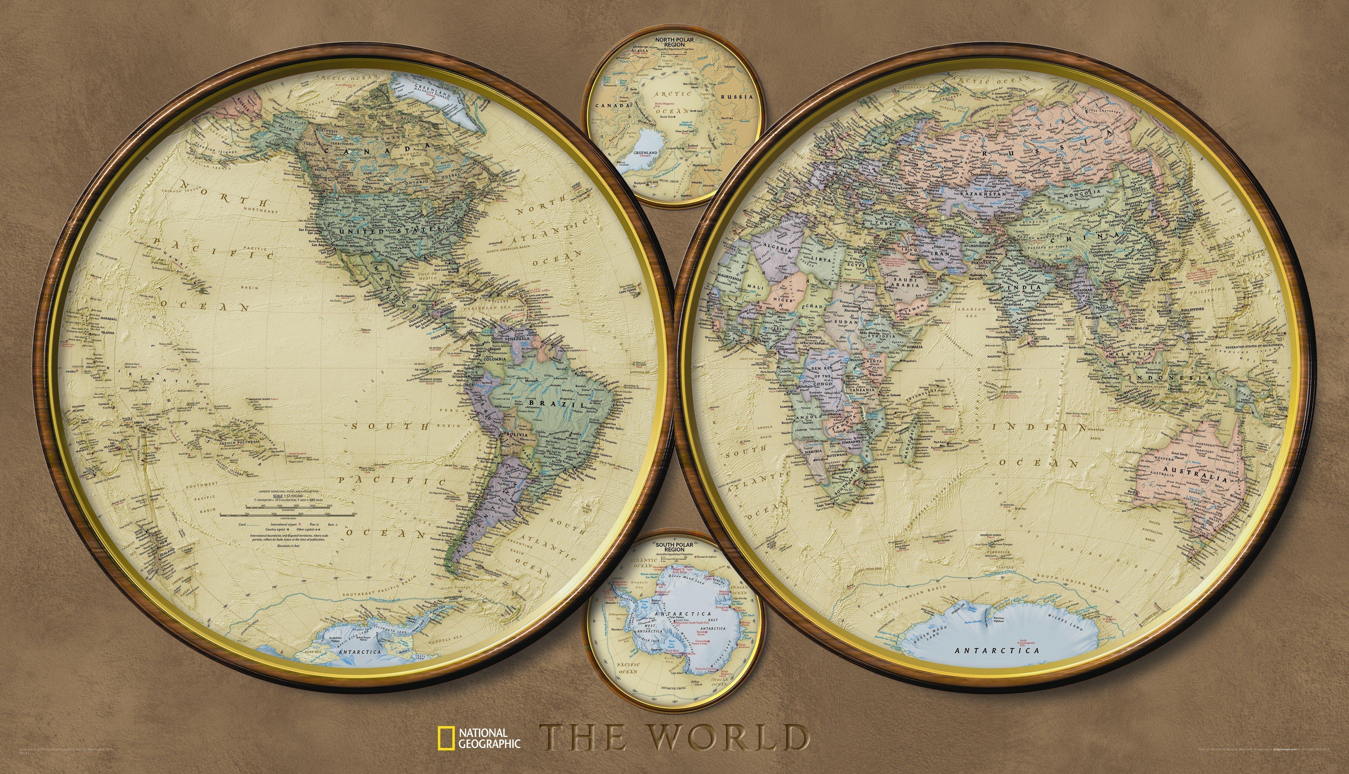 National geographic maps world hemispheres wall map wayfair gumiabroncs Choice Image