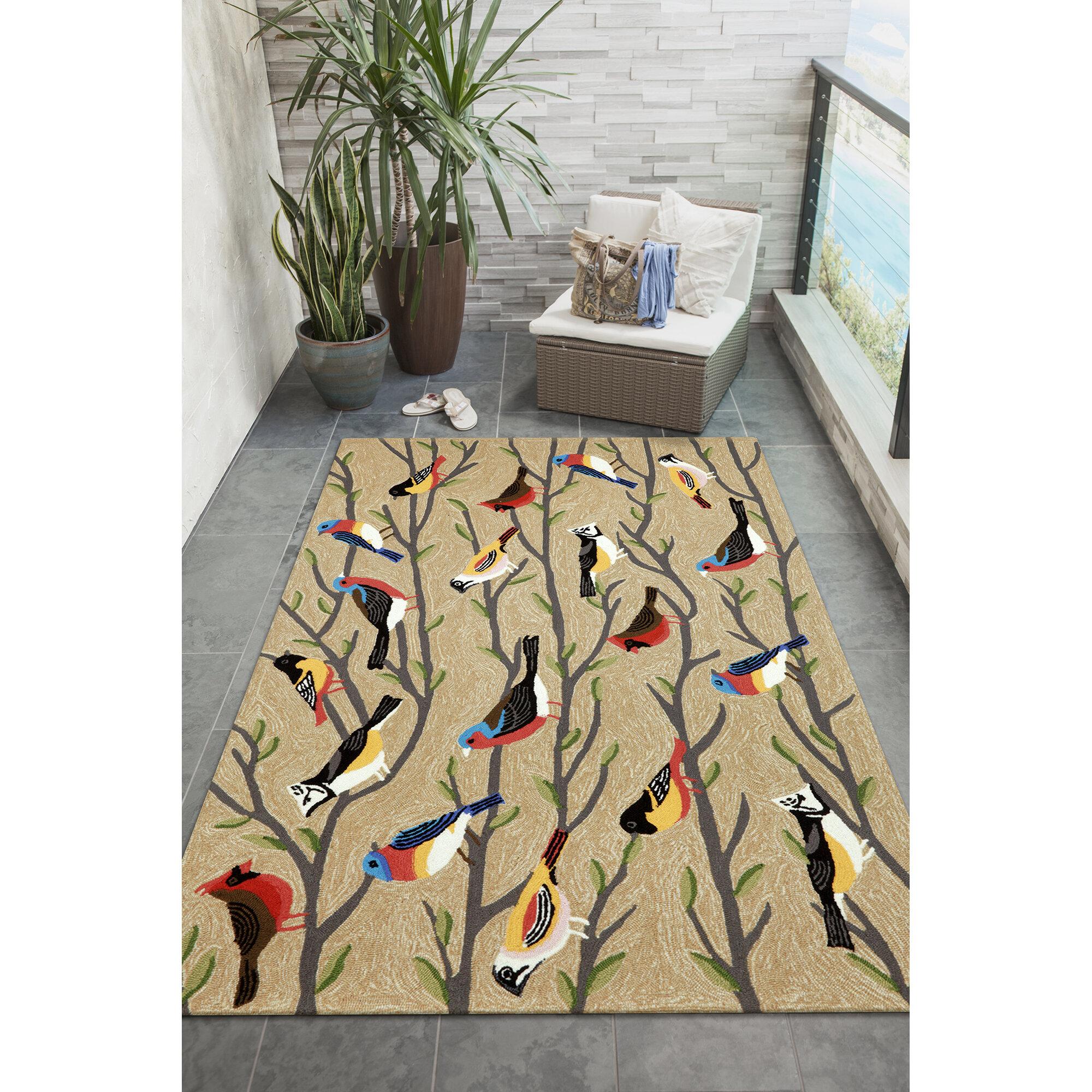 August Grove Ismay Birds Tufted Cream Black Indoor Outdoor Area Rug Reviews Wayfair