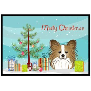 Christmas Tree and Papillon Doormat