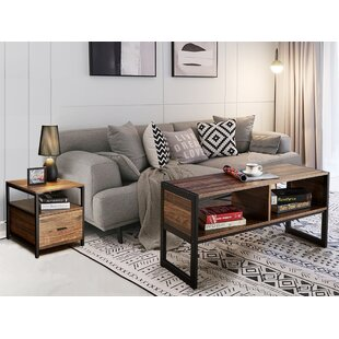 Loyce Vintage Metal 2 Piece Coffee Table Set