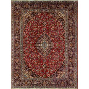 Camarillo Vintage Distressed Hand Knotted Wool Red Area Rug
