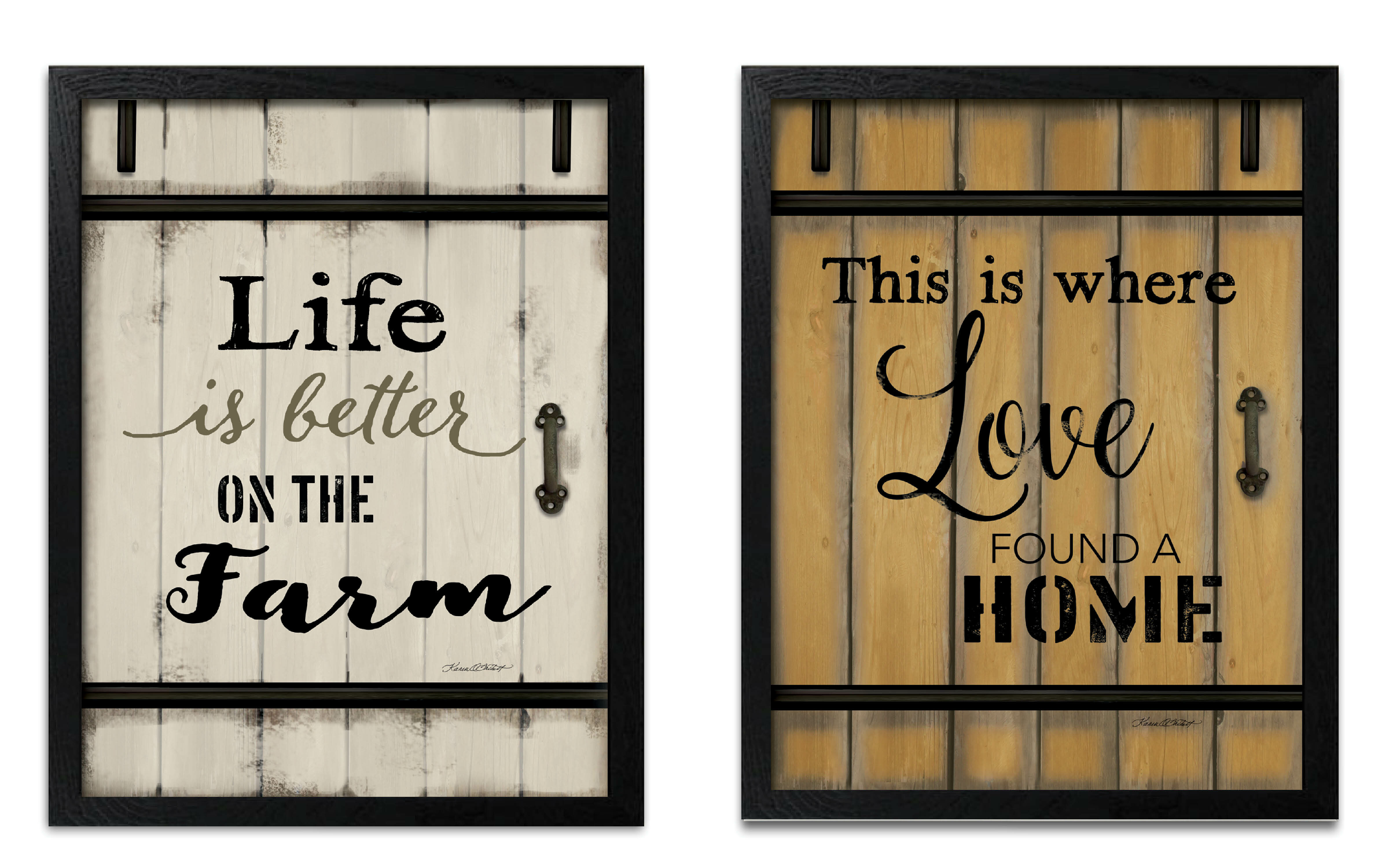 Gracie Oaks Life Is Better On The Farm And Love Found A Home Barn Door 2 Piece Textual Art Set Wayfair