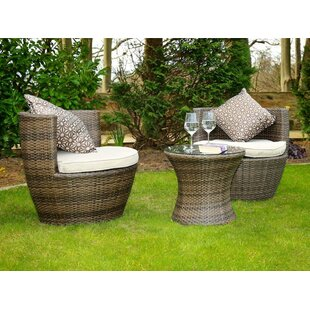 Rosas 3 Piece Rattan Conversation Set with Cushions
