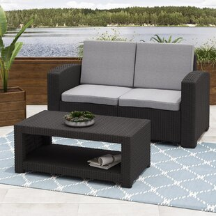 Wrought Studio Guillot Patio 2 Piece Sofa Set with Cushions