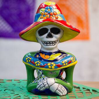 The Holiday Aisle Kumar Day Of The Dead Ossuary Human Cranium Evil Grinning Skull Decorative Stash Skeleton Trinket Jewelry Sculpture Wayfair