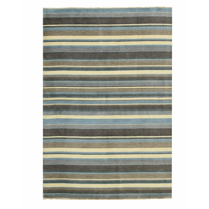 Eastern Rugs Striped Hand Knotted Wool Blue Brown Ivory Area Rug Perigold