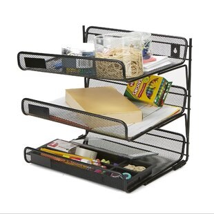Mind Reader Metal Mesh 3 Tier Wall Mount Paper Tray Document Paper File Organizer